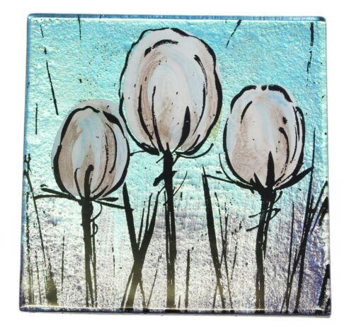 Lot de 4 blanc Tulip conception peinte à la main en verre carré Boissons Sous-Verre 10 Cm Cadeau