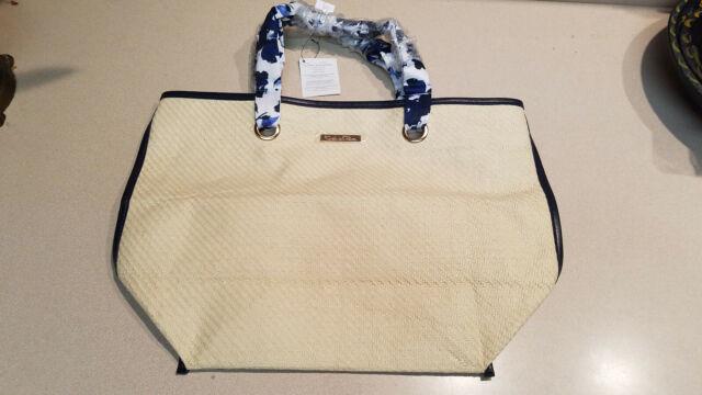 5fda39b126 Oscar De La Renta Resort 2016 Straw Fashion Tote Bag Navy Piping ...