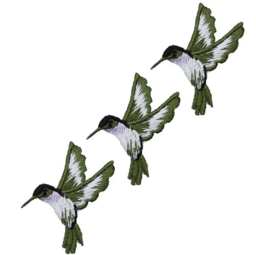 "Violet 3-Pack, Iron on Bird Badge 1-3//4/"" Hummingbird Applique Patch Green"
