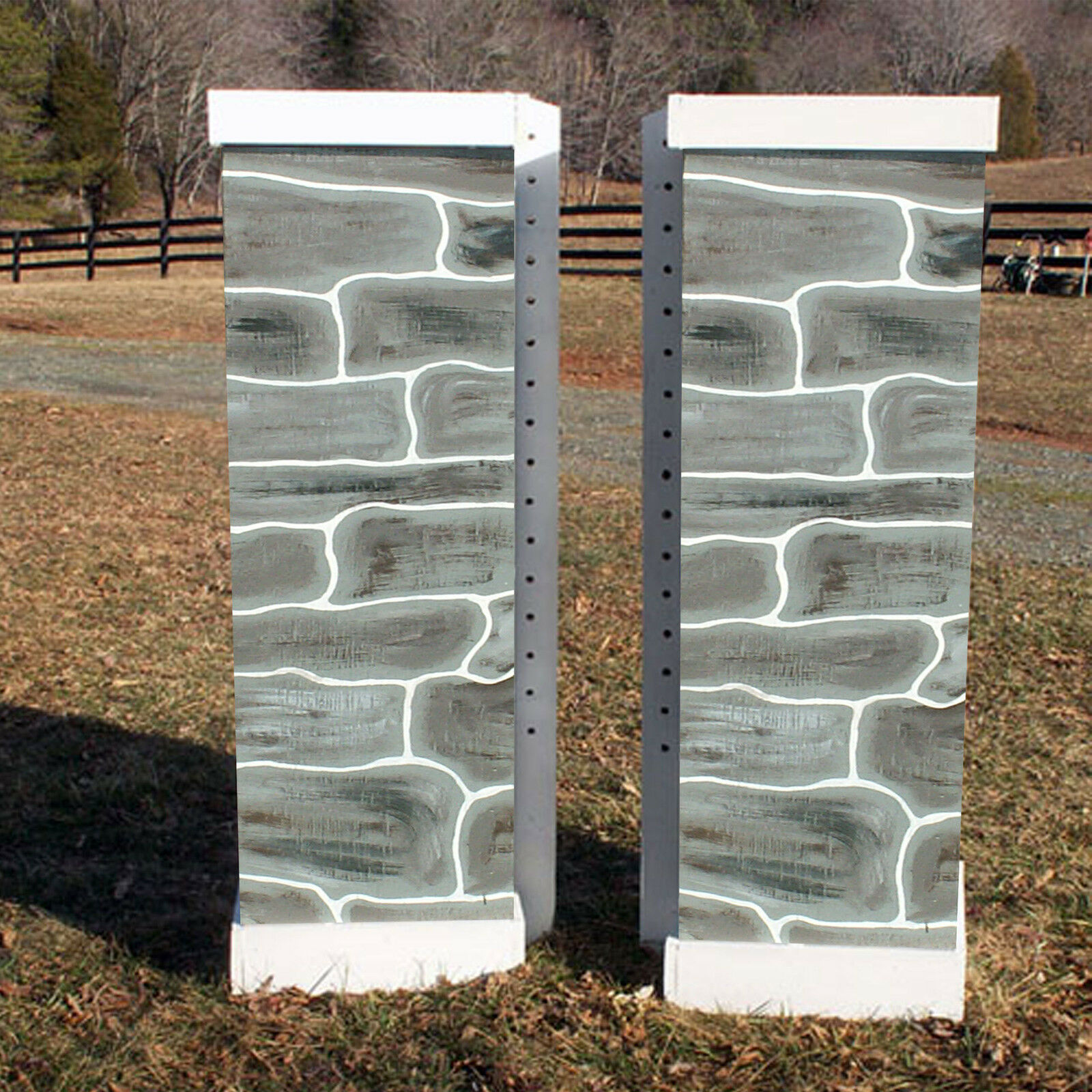 Horse Jumps Solid Stone Wooden Columns Pair 6ft  C215   ultra-low prices
