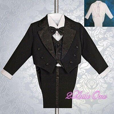5pcs Set Boys Black Formal Tuxedo TUX Suit Wedding Pageant Toddler Size 3 ST001A