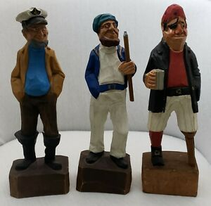 Vtg-Lot-of-3-Wood-Carved-Nautical-Figures-Captain-Pirate-Fisherman-Hannah-12-034