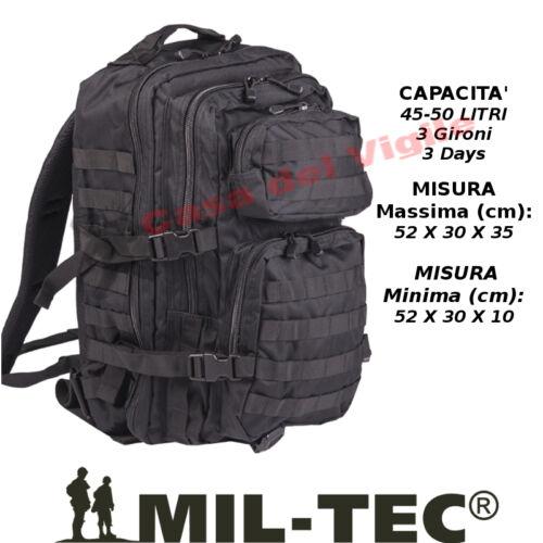 Zaino Assault Incursore 50 Litri Militare Molle MilTec Nero Black 3 Giorni Days