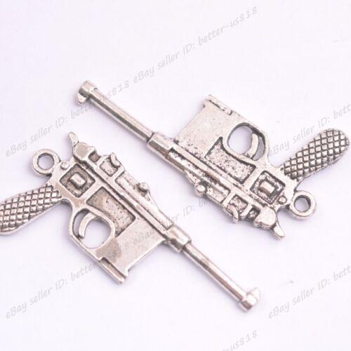 Wholesale 10Pcs Tibetan Silver pistolet Charms Pendentifs Bijoux 42x22MM A151
