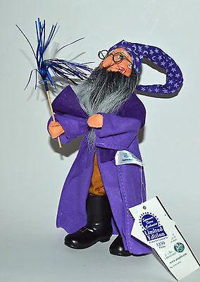 "RARE! Halloween 10"" Purple WIZARD Warlock Wand Poseable Decoration Annalee 2001"