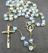 Clear glass heart iridescent seed bead rosary beads necklace Catholic our lady