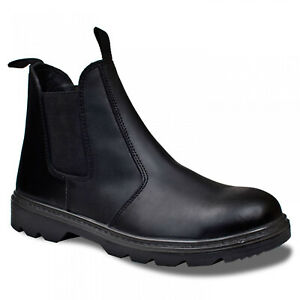 6b4660d20c0 Details about MENS DEALER SAFETY ANKLE BOOTS CHELSEA STEEL TOE CAP LEATHER  SLIP ON WORK SHOES