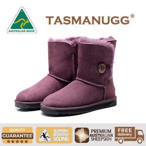 a656700da9f Details about Tasman-Short Button UGG Boots,Australian Made,Premium Aus  Sheepskin,Purple Cl