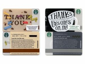 2-NEW-NEVER-USED-2012-2015-Thank-You-amp-Thanks-This-One-039-s-On-Me-Starbucks-Cards