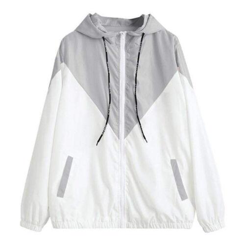 Women Coat Tops Hooded Two Tone Windbreaker Zipper Long Sleeve Sweatshirt fh98