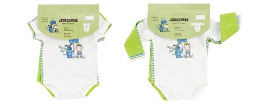 Jacky Baby Body 3er-Pack lang oder kurz  grün weiß gestreift Jungen Gr 50-92