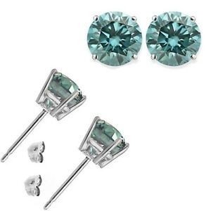 1-Carat-Diamond-Blue-SI3-I1-14K-White-Gold-4-Prong-Basket-Solitaire-Stud-Earring