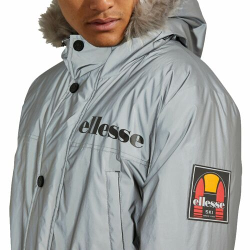 Ellesse Faux Fur Parka Jacket Men Warm Hooded Padded Winter Coat Reflective Grey