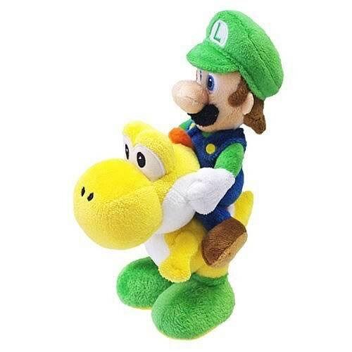 "1255 REAL  Luigi Riding Yoshi 8/"" Stuffed Plush Super Mario Little Buddy USA"