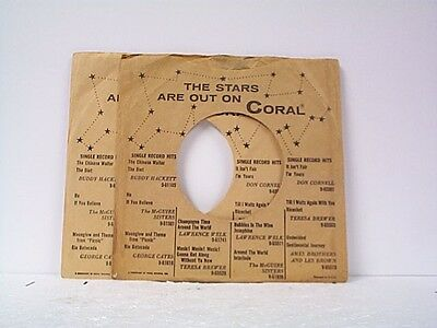 Music Responsible 2-coral Record Company 45's Sleeves Lot # A-383