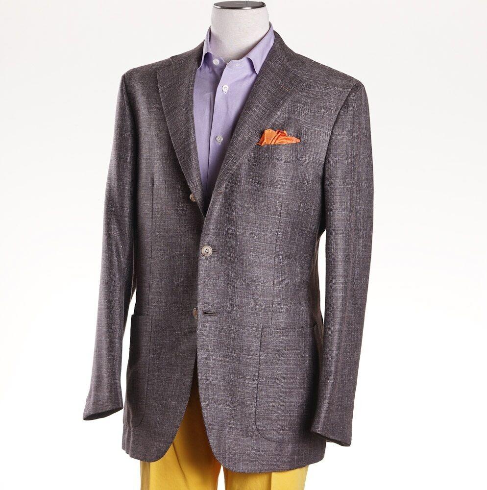 NWT 7095 KITON NAPOLI Braun Melange Cashmere-Linen-Silk Sport Coat 40 R (Eu50)