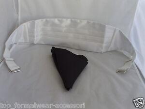 /<  Bonanaza /> Shiny Ivory- off-white - Mens Polyester Cummerbund BLACK Hankie