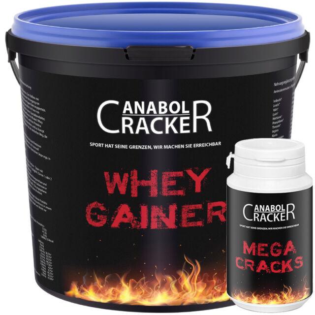 3000g WHEY GAINER - Masseaufbau / Eiweiss Protein + Mega Cracks Trainingsbooster