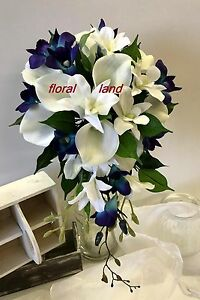 Silk wedding bouquet latex white calla lily teal blue orchid ...