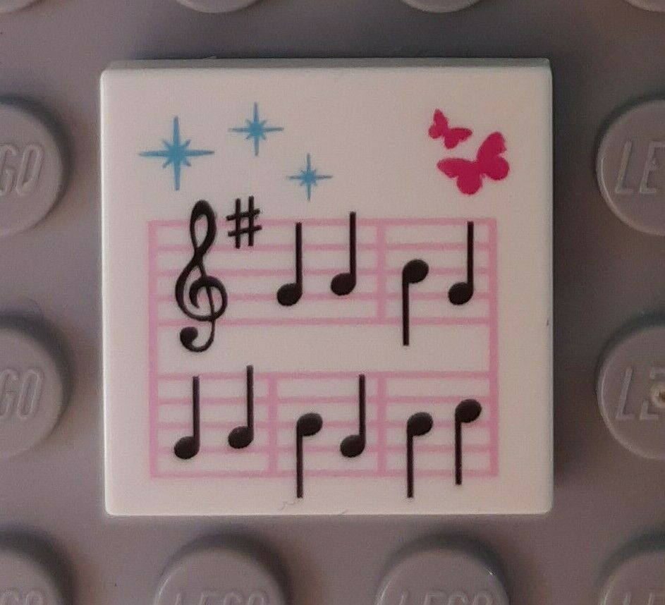 Lego 2x tile decorated 2x2 music notes score music butterfly 3068bpb0589 nw
