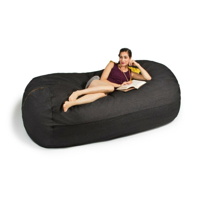 Ja 7 Ft Giant Bean Bag Sofa Black Denim