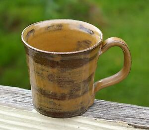 Brown-Pottery-Art-Coffee-Mug-Cup-1985-Signed-JEM