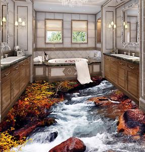 3D Stone River arbusto 86 Papel de parojo de Piso Impresión De Parojo Murales AJ Wallpaper Reino Unido Limón