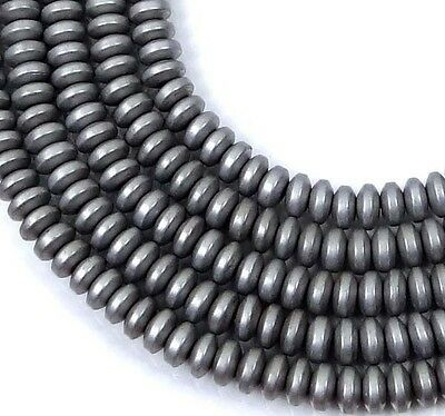 "4x2mm Matte Silver Hematite Metallic Coated Rondelle Saucer Beads 16"""