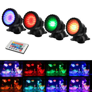 Waterproof Underwater Light IP 68 Submersible Spotlight with 36-LED Bulbs 8W Multi-Color Spot Light for Aquarium Garden Pond Pool Tank Fountain Waterfall Pond Lights