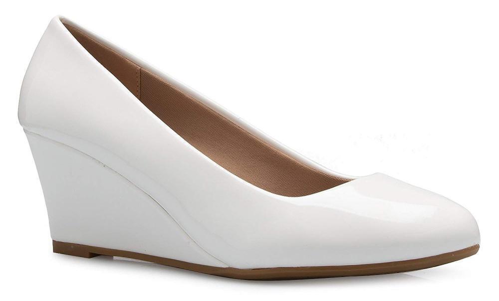 OLIVIA K Women's Women's Women's Adorable Low Wedge Heel shoes - Easy Pumps - Basic Slip On,... a7ab65