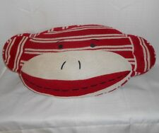 SOCK MONKEY Pillow Stuffed Animal Plush Red & White Stripe DAN DEE 2010