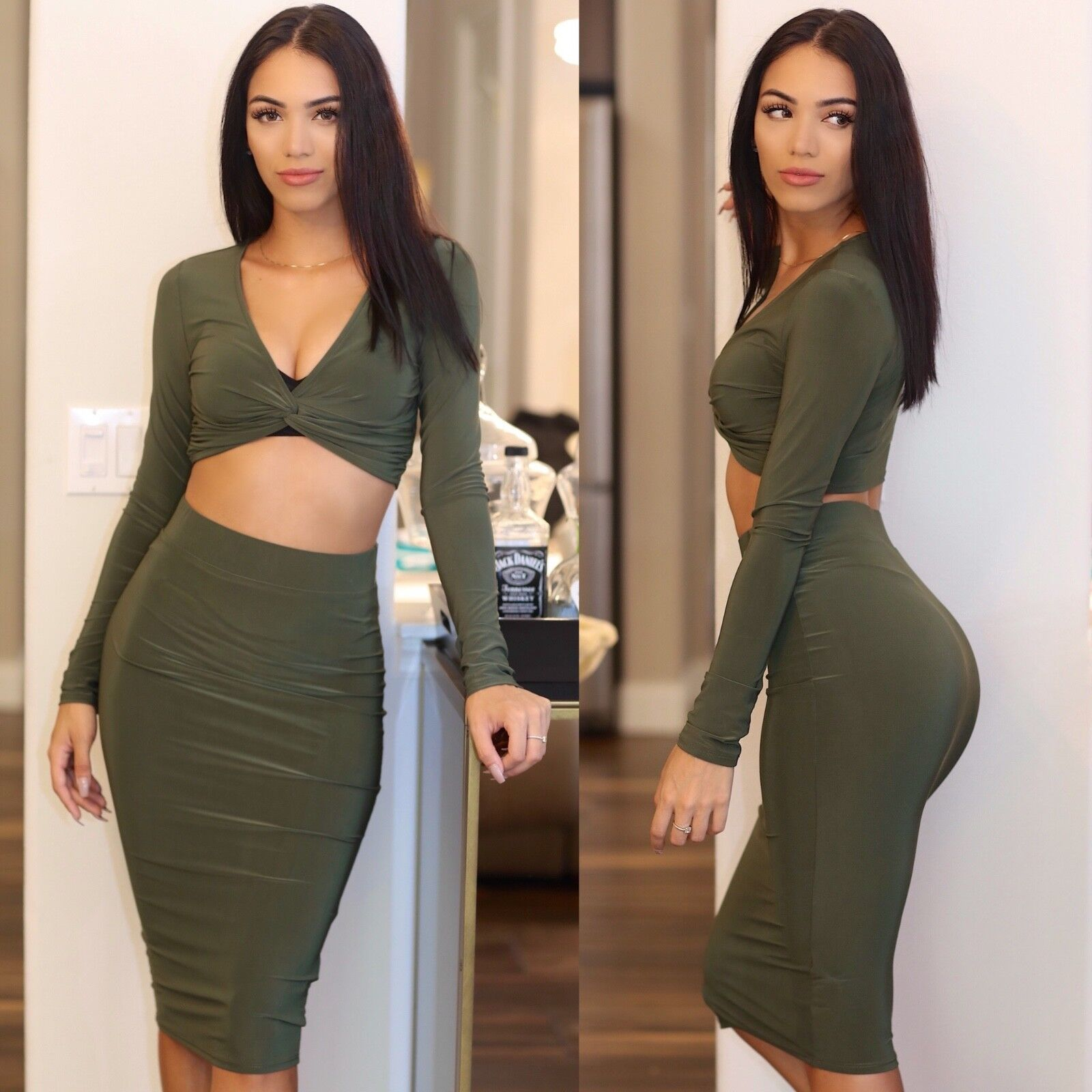 Sexy Women's Crop Top Pencil Skirt Two Piece Skirt (Olive) Night Club Party