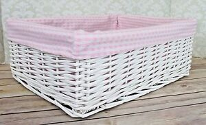 Image Is Loading White Wicker Basket Amp Pink Gingham Lining Nursery
