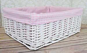 Details About White Wicker Basket Pink Gingham Lining Nursery Storage Gift Hamper 41cm