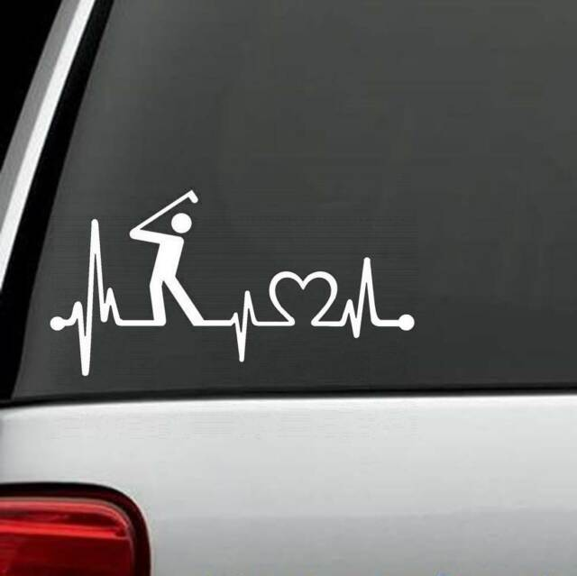 K1112 golf guy mens heartbeat monitor decal sticker car truck suv laptop surface