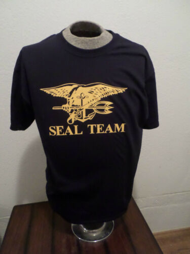 U.S MILITARY NAVY SEAL TEAM TRIDENT T SHIRT NAVY SEALS SIZE LARGE NAVY BLUE