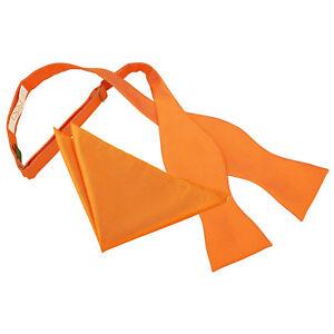 DQT-Woven-Plain-Solid-Check-Celosia-Orange-Mens-Self-Tie-Bow-Tie-amp-Hanky-Set
