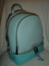 MICHAEL Kors Rhea Medium Backpack Zip Colorblock Leather Bag CELAND/ AZURE