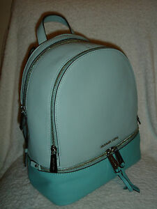 aad9164d8845 Image is loading MICHAEL-Kors-Rhea-Medium-Backpack-Zip-Colorblock-Leather-