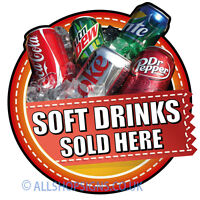 SOFT DRINKS SOLD HERE Catering shop Sign Window sticker Cafe Restaurant decal