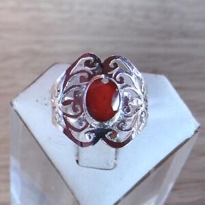 Bague-en-argent-925-poinconne-pierre-en-cornaline-taille-54-ref-bag184