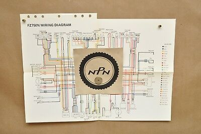 Vtg 1985 Yamaha FZ750 N Factory Color Schematic Wire ...