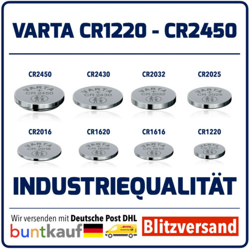 VARTA CR1220 CR2450 HIGH-TECH LITHIUM KNOPFZELLEN AUSWAHL