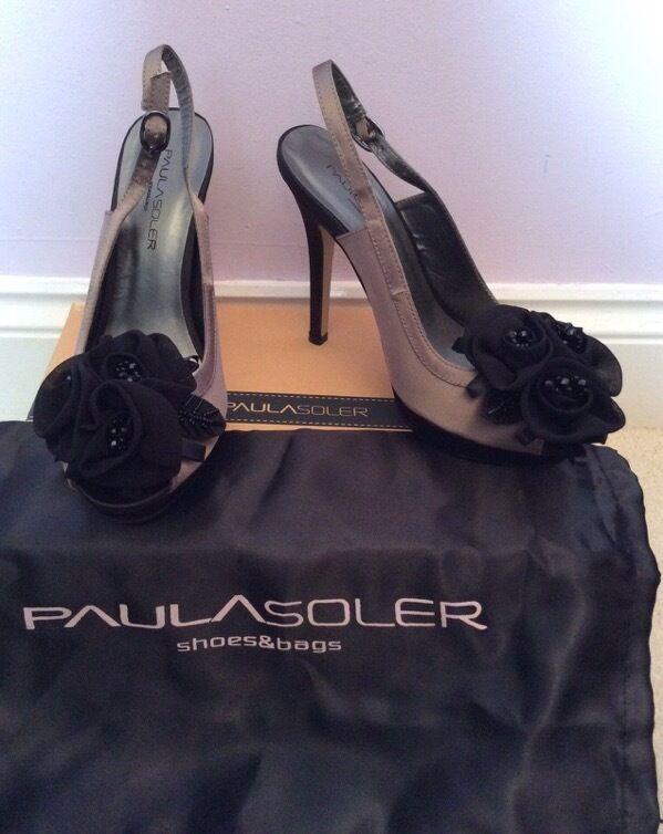 Brand nouveau Paula Soler Marron Clair & Noir Fleur Bordure bride arrière Talons Taille 4 37