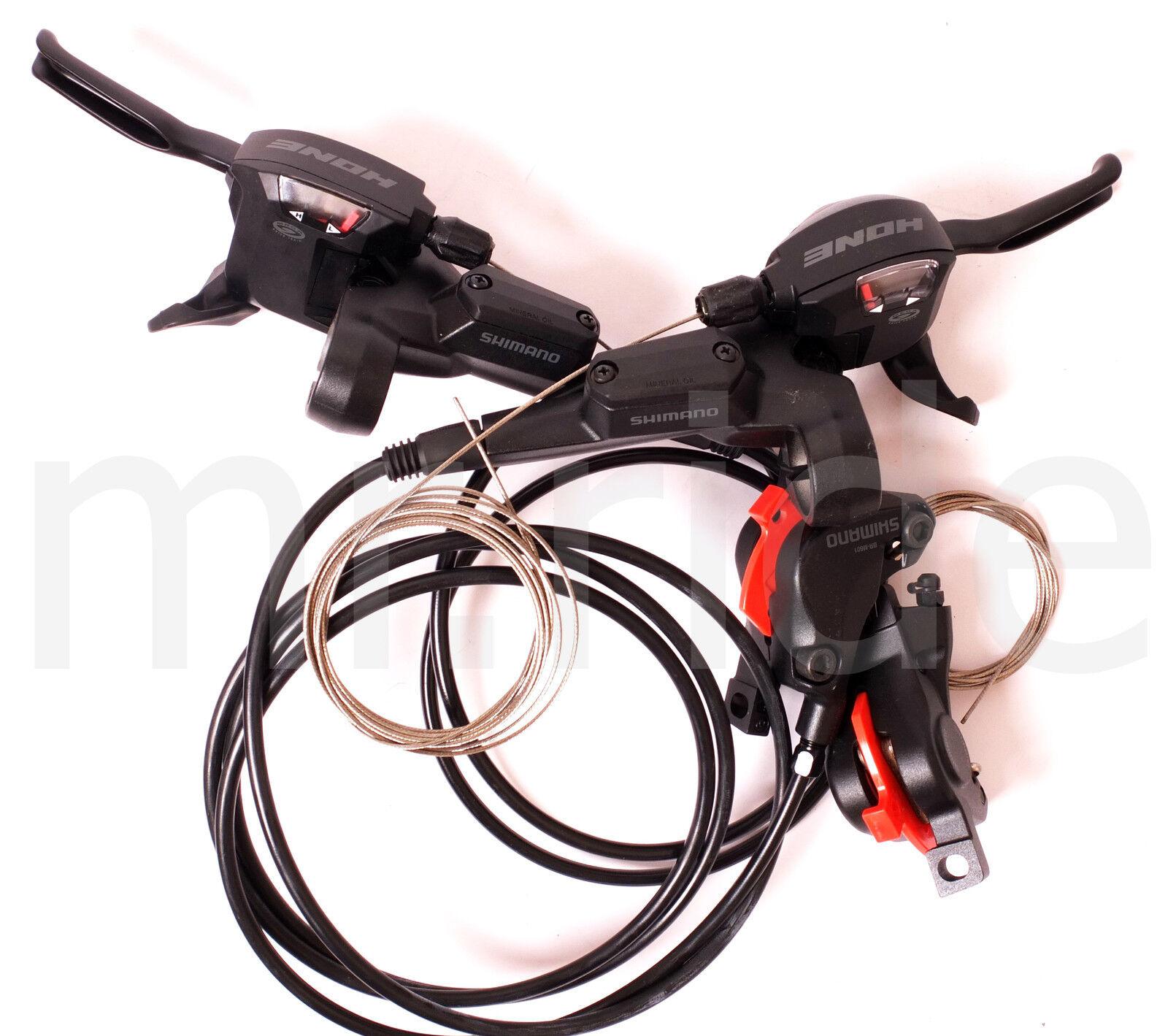 2in1 Shimano Hone ST-M600 Bicicleta, Bicicleta Palanca De Cambios, Freno de Disco Hidráulico Set Negro