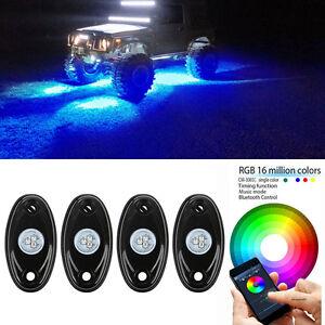 4Pcs RGB LED Rock Lights Wireless Bluetooth Music Flashing Offroad ...