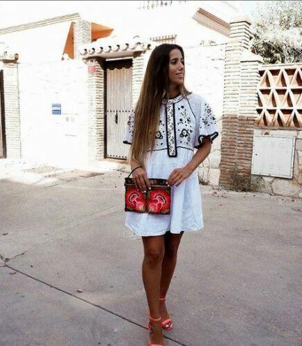 BNWT ZARA Off White Ecru Embroidered Mini Dress Size M