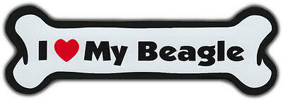Dog Bone Magnet: I LOVE MY BEAGLE | Dogs Doggy Puppy | Car Automobile