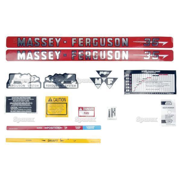 Massey Ferguson Mf 35 MF35 Tracteur Autocollant Ensemble Complet Autocollant Tracteur 6afff9