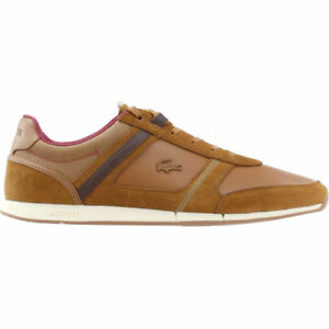 Lacoste Mens Menerva Trainers Khaki Leather Shoes All Sizes